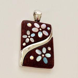 Lia Sophia Wooden Flower Pendant
